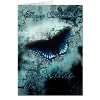 Grandma Butterfly Birthday Card - Blue Butterfly B