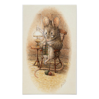 Grandma Dormouse Knitting on a Rocking Chair Poster