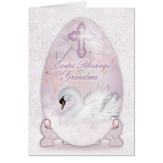 Grandma, Easter Card With Decorated Egg, Swan