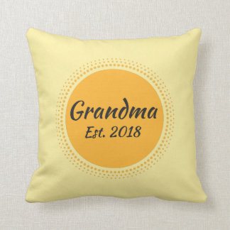 Grandma Est. 2018 Yellow Throw Pillow