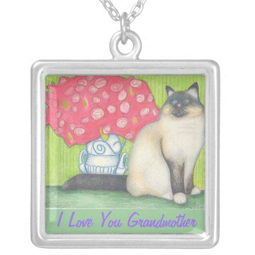 Grandma Floral Cat Necklace