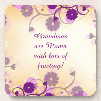 Grandma Grandmother Quote Mauve Flowers Coasters