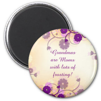 Grandma Grandmother Quote Mauve Flowers Magnet
