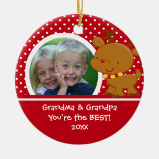Grandma Grandpa Photo Reindeer Christmas Ornament