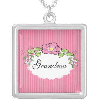 Grandma Grandparent Necklace Floral Frame