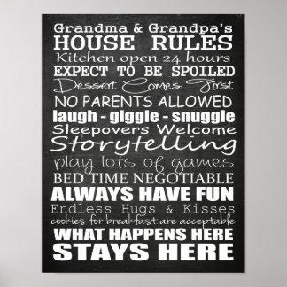 Grandma & Grandpa's House Rules Poster Chalkboard