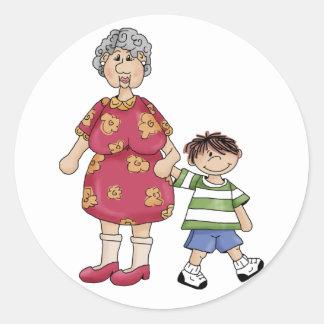 Grandma & Grandson (Grandparent Designs) Round Sticker