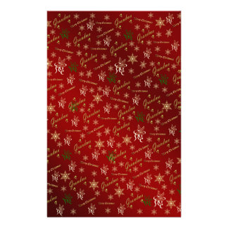 grandma happy christmas in gold and red stationery