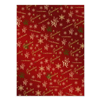 grandma happy christmas text in gold and red 17 cm x 22 cm invitation card