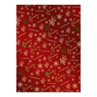grandma happy christmas text in gold and red card