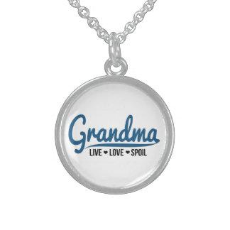 Grandma Live Love Spoil Sterling Silver Necklace