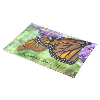 Grandma Loves You placemats Monarch Butterflies