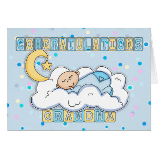 Grandma New Baby Boy Congratulations Greeting Card