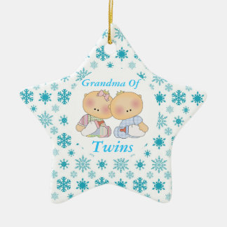Grandma Of Twins Cute Baby Keepsake Ornament Gift Ceramic Star Ornament