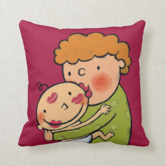 Grandma Pink Lipstick Kisses for Baby Cushion