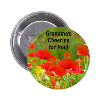 Grandma s Cheering for You button Red Poppies