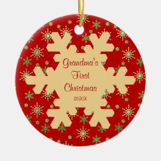 Grandma s First Christmas Red Snowflake Ornament