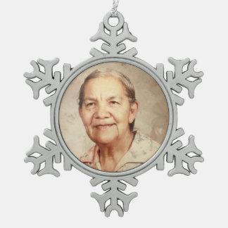Grandma Sylvia Huerta Snowflake Pewter Christmas Ornament