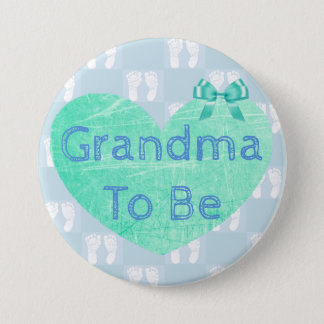 Grandma to Be Baby Shower Button Blue