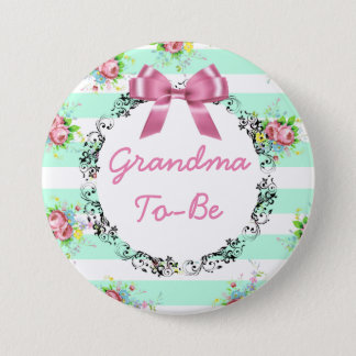 Grandma to Be Baby Shower Button Mint Green & Pink