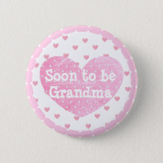 Grandma to be Pink Footprints  Baby Shower Button
