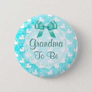 Grandma to be Teal Bow and baby Ducks Button