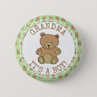 Grandma to be Teddy Bear Its a Boy Button