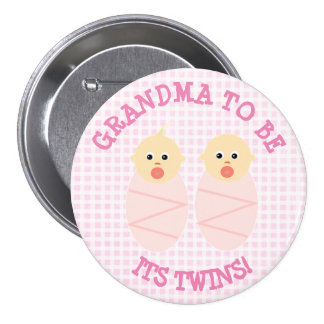 Grandma to be to twins girls Button