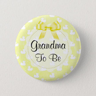 Grandma to be Yellow Bow and baby Ducks Button