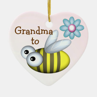 Grandma to Bee/ Expecting announcement Ceramic Ornament
