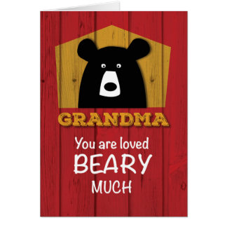 Grandma, Valentine Bear Wishes on Red Wood Grain Card