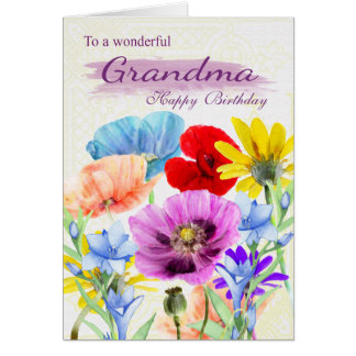 Grandma Watercolor Wild Flowers Birthday Card