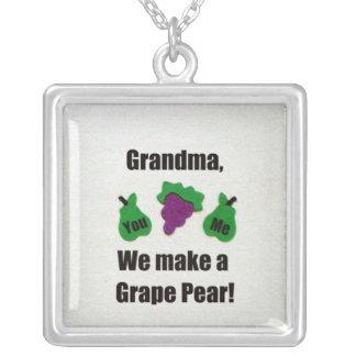Grandma, we make a grape pear! square pendant necklace