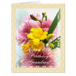 Grandma's 100th birthday flowers (change age) card
