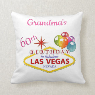 Grandma's 60th Las Vegas Birthday Pillow