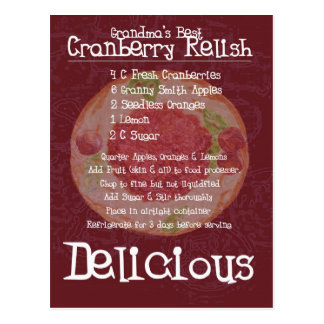 Grandma's Best Cranberry Relish Recipe Postcard
