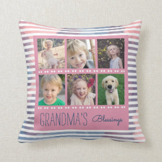 Grandma's Blessings Photo Collage Pink & Blue Cushion