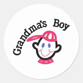 Grandmas Boy Round Sticker