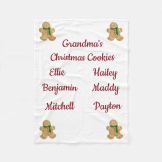 Grandma's Christmas Cookies (customize names) Fleece Blanket