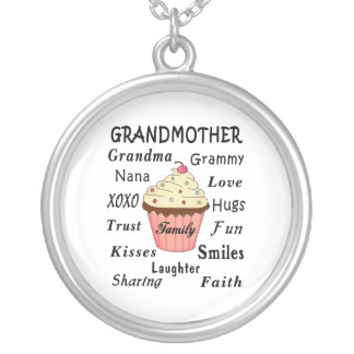 Grandma's Cupcakes For Grandmothers Round Pendant Necklace