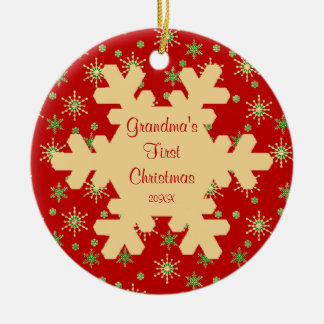 Grandma's First Christmas Red Snowflake Ornament
