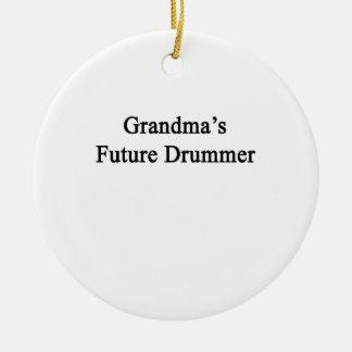 Grandma's Future Drummer Round Ceramic Decoration