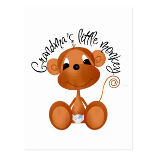 Grandma's Little Monkey - Boy Tshirts and Gifts Post Cards