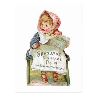 Grandma's Pancake Flour Vintage Food Ad Art Postcard