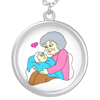 Grandmother and baby grahpic round pendant necklace