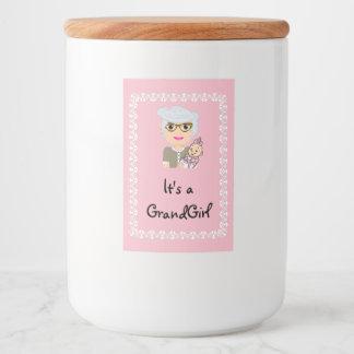 Grandmother Baby Shower Food Jar Label