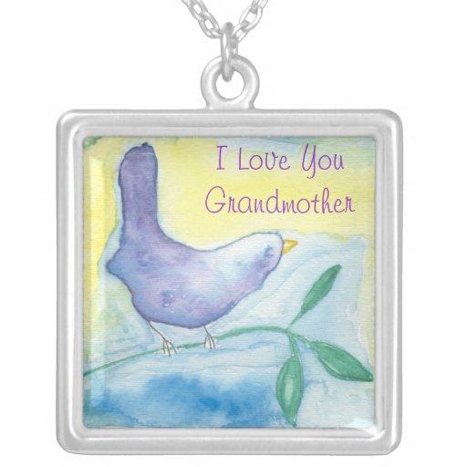 Grandmother Blue Bird Love Necklace