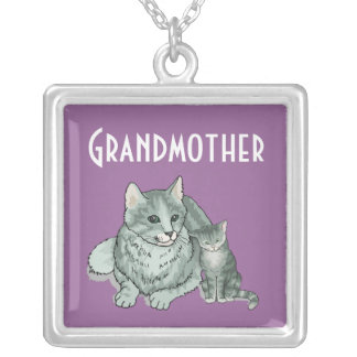 Grandmother Cat Square Pendant Necklace