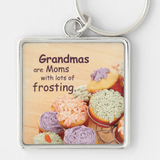 Grandmother Cupcakes Mother's Day, Square Gift Silver-Colored Square Key Ring