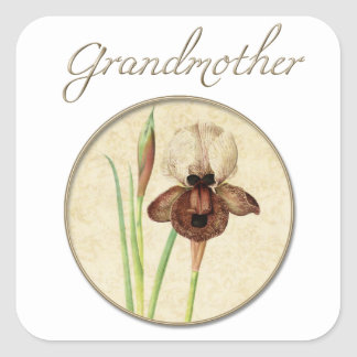 Grandmother Gold Iris Square Sticker